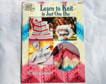 Learn To Knit In Just One Day American School of Needlework #1210 Vintage 1994