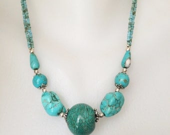 Turquoise Necklace  Tibetan Necklace Beaded necklace Sky blue necklace  Ethnic necklace
