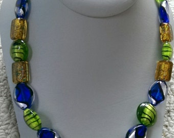 Glass lampwork cobalt blue and green beaded necklace