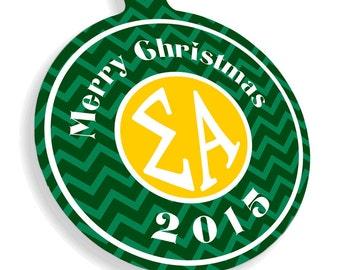 Sigma Alpha Chevron Christmas Ornaments