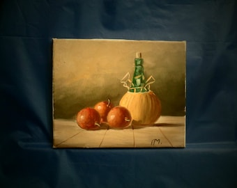 Still life with wine bottle and plums. Oil on canvas - unframed . Vintage home decor. 1960s