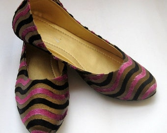 US size 5 - Contemporary Multi Color Women Shoes/Handmade Indian Designer Women Ballet Flats or Slippers/Maharaja Style Women