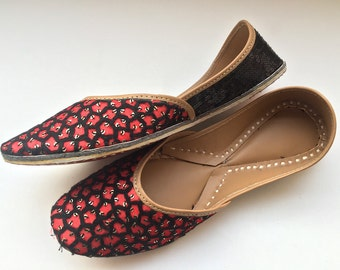 Exclusive Red Women Shoes/Bridal Ballet Flats/Black Sequins Flats/Wedding Shoes