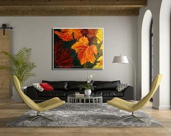 Canvas Painting, Nature Wall Art, Colorful Art Oil Painting, Leaf Art Original Art, Autumn Art Fall Painting, Nature Painting of Fall Leaves