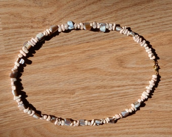 Pink rock and ivory shell necklace