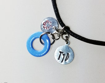 Diabetes Awareness Medical Alert 'T1D' Hand Stamped Tag BlackLeather Necklace with Iridescent Blue Circle and Star of Life Tag-Diabetic Tag
