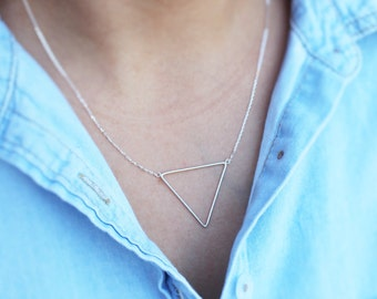 925 Silver Inverted Triangle Necklace