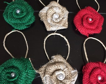 Set of Six Red Green and Natural Burlap Flowers Hanging Christmas Tree Ornament Rustic Holiday Wreath Decor Table Gift Wrap Jute