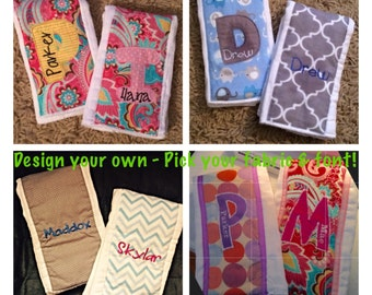 2  Burp Cloths Personalized with embroidery