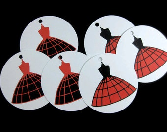 Dress Form Gift Tags Set of 6 You Choose The Colors