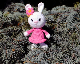 Sweet white rabit toy, handmade with eco materials, beautiful gift for children's, amigurumi plush toy