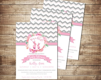 Gray and Pink Chevron Bunny Baby Shower Invitation - Pink Rabbit Party Invitation - Bunny Baby Shower theme Invite - Pink and Gray Invite