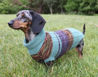 Knitting Pattern, Scrap Yarn, Cowl Neck, Mini Dachshund, Dog Sweater, Dog, Dachshund