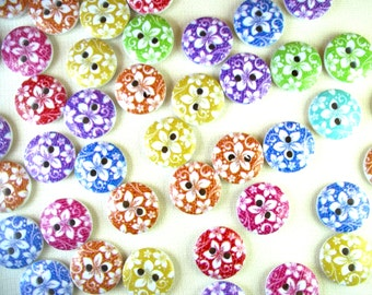 Set of 10  Colorful Flowered Wooden Hand Painted Buttons - Sewing, Scrapbooking, DIY Crafts