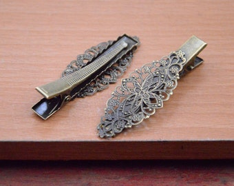 20pcs antique bronze Hair Clips with filigree flower pad,Barrette clip,hairpin findings,metal hair clip.