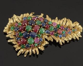 Tutti-Frutti gemstone brooch