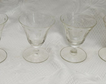 Vintage Oyster Stemware Glasses (set of four) 1950s-1960s