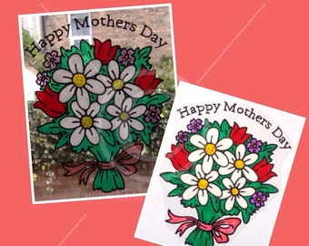 Bouquet of Flowers window cling for Mother's Day, for glass and mirror surfaces, reusable faux stained glass look static cling decal