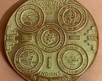 Frankoma OK3 Trivet Hot Plate Seals of 5 Civilized Tribes of Indians In Oklahoma