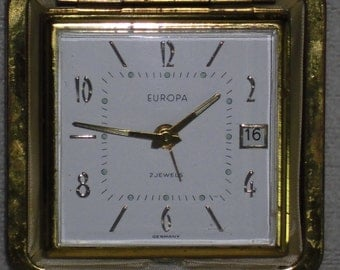 Old mechanical travel alarm clock Europe alarm clock