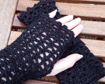 Black lace effect sparkly fingerless gloves