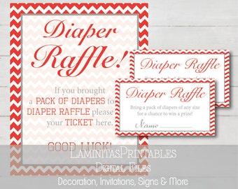 Baby shower Diaper raffle, diaper raffle ticket, baby shower raffle, instant download, red baby shower, baby shower game, tickets BS03