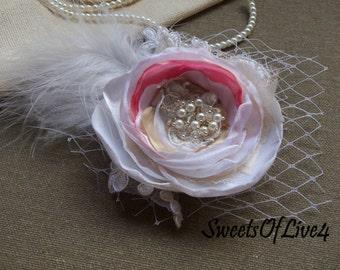 Wedding hair flower Bridal hair flower Wedding hair accessories Bridal hair accessories Wedding  Lace  Vintage pink