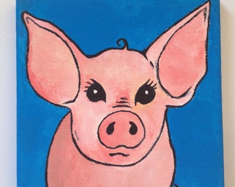 Little Piglet Painting on Canvas