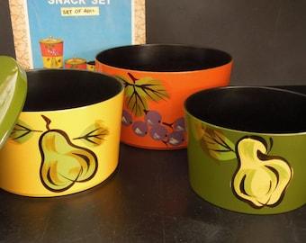 Soviet Era Bowls Boxes Snack Set Three - Retro Kitchen Storage - Nesting Containers  70's Kitchen Housewarming Gift Vintage
