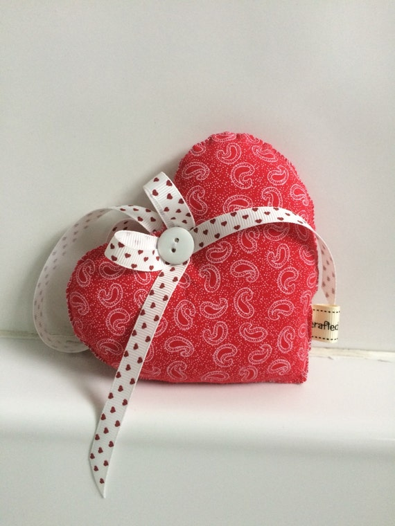 Decorative Wall Hanging Hearts : Decorative fabric heart in red hanging by daisydoodleuk