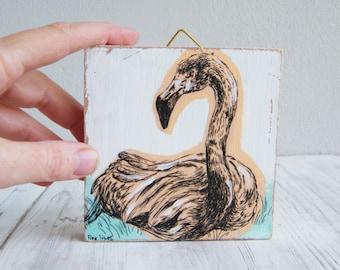 Miniature painting, Flamingo image, Wood wall art, Wood signs, Cabin decor, Hipster wall decor, Aqua