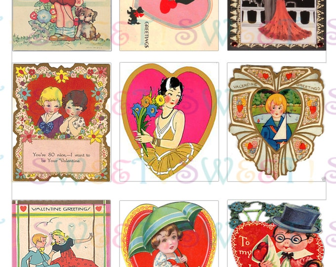 Edible Vintage Art Deco Valentine Card Cookie Toppers - Wafer Paper or Frosting Sheet