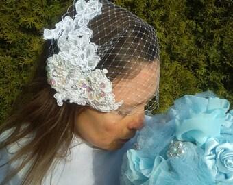 Birdcage Veil Lace Vintage Style Wedding Vail White Birdcage 16 inch Netting Veil