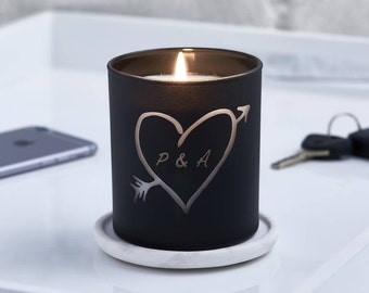 Glow Through Carved Heart Personalised Candle, Personalized Candles, candle, Anniversary gift, Scented candle, Initial candle, Wedding gift.