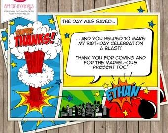 Comic Superhero Thank You Note   Personalized   You Print
