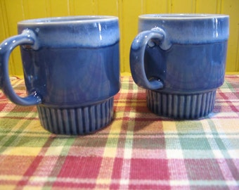 Stackable Blue ceramic coffee cup and drop a drop.