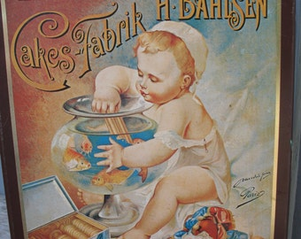 Box of German Bisque baby and rare advertising of Hannover cakes Fabrik H. Bahlsen goldfish. boxes, storage.,.