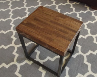 Industrial Style Reclaimed Walnut and Steel End Table Side Table