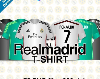 """REAL MADRID T-SHIRT Clipart - Realmadrid Party - 72 png files 300 dpi 5"""" for Cardmaking, Scrapbooking, Party Decorations and More"""