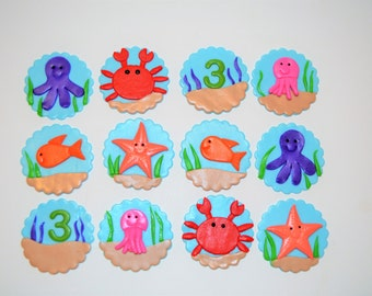 Under the sea fondant topper, crab topper, fish topper, starfish fondant, cupcake topper, cake topper
