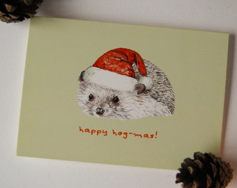 A6 Hedgehog Christmas Card