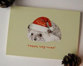 A6 Hedgehog Christmas Card