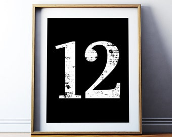 "Inspirational Wall Art ""12"" Number Twelve Printable Poster, Number Art Decor, Typography Number Printable, Instant Download DIY PRINT"