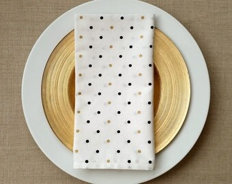 Dinner Napkins -  Black and Gold Polka Dots Napkins - Set of 2
