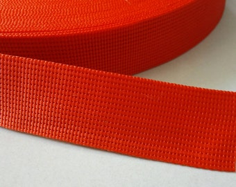 5 Yards, 1 inch (2.5 cm.), Polypropylene Webbing, Red, Key Fobs, Bag Straps, Purses Straps, Belts, Tote Bag Handle.