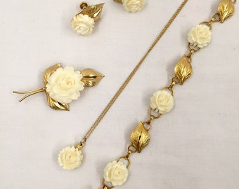 Vintage Gold Filled White Flower Jewelry Set of 4