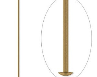 Brass head pins, antiqued gold plated brass, 21 gauge headpins, 1-1/2 inches, 50 each, D407
