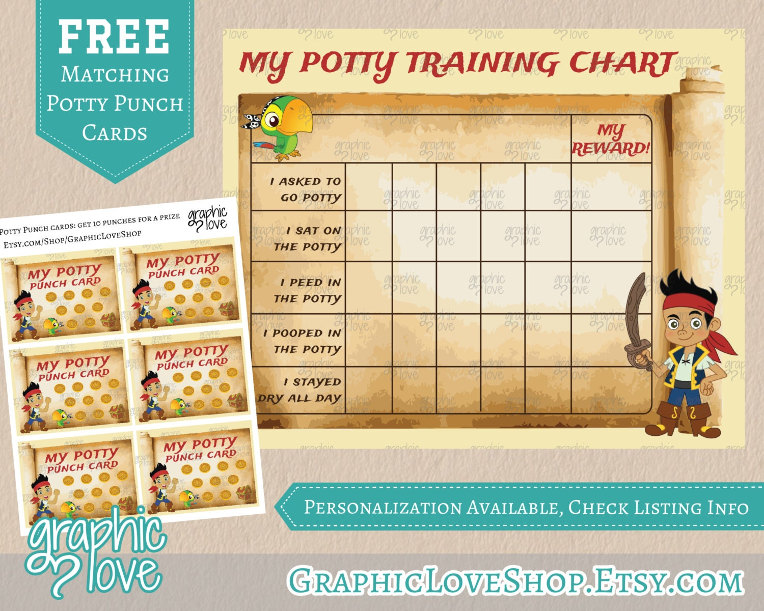 printable jake and the neverland pirates potty training chart printable jake and the neverland pirates potty training chart punch cards digital jpg file instant