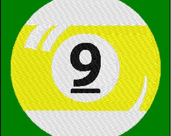 Nine 9 Ball Billiards Pool Embroidery Design