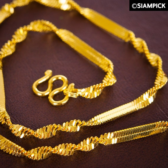 Thai Gold Necklace: 18 THAI Gold Rope Chain Necklace 22K 24K Gold Plated By